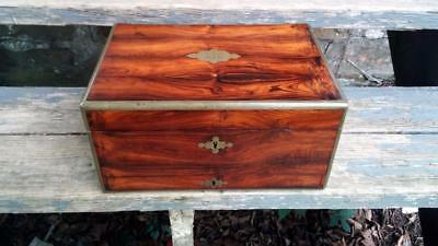 Antique 1820's Rosewood & Brass Jewelry Documents Box Lawrence Elvey England