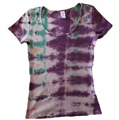 Tie Dye T Shirt Purple Aqua Green 100% Cotton Handmade Natural Unique Clothing
