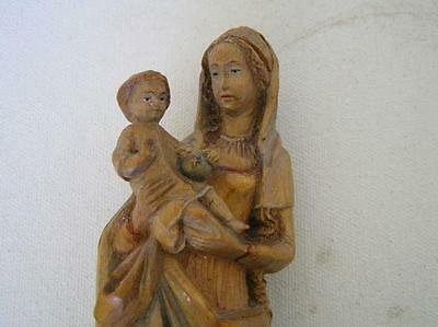 Exquisite Antique Wood Carved Madonna & Child Jesus Mother Mary Virgin Statue