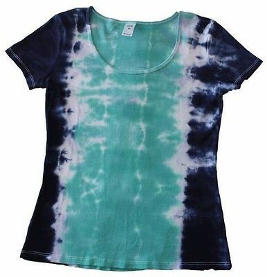 Tie Dye T Shirt Navy Blue Aqua 100% Cotton Handmade Natural Unique Clothing