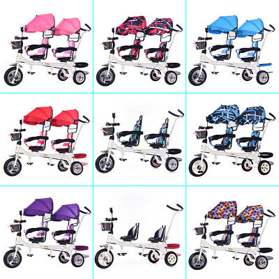 Baby Stroller 3 Wheels Tandem Pushchair Twins Tricycle Double Seat Toddler Tool
