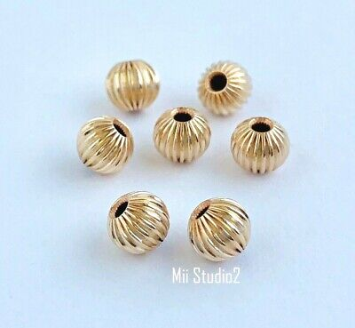 10x 5mm 14k yellow gold filled Straight Corrugated Bead Spacer S21g