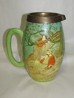 Antique Persian Islamic Miniature Painting on Ceramic Ewer Asian Indian ?