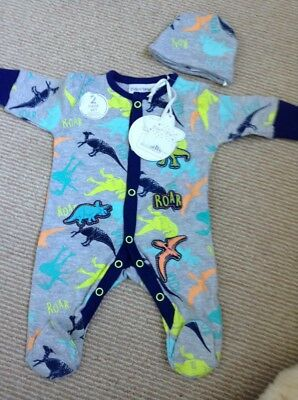 New with tags. Tiny baby dinosaur babygrow with hat.