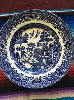 Churchill Plate.blue Willow.england