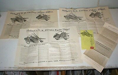 Three +  D.Y.  Hallock & Sons  Potato Digger Machinery Brochures Posters 1906