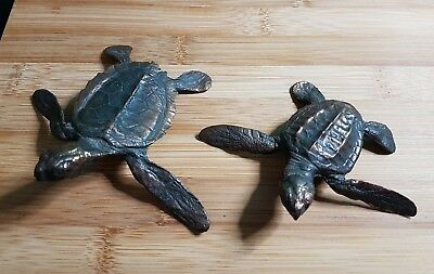 Bronze Turtle Sculptures Ornaments Signed