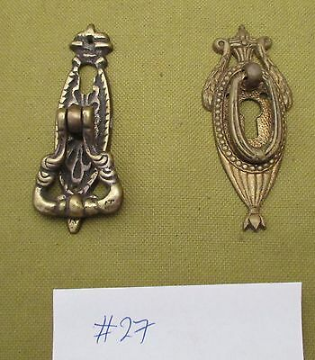 2 X  Antique Small Brass Cabinet Cupboard Door Key Handles Pulls Restoration #27