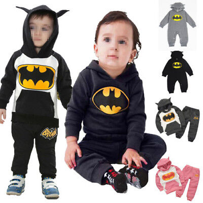 Batman Tracksuit Outfits Kids Boys Girls Baby Hooded Romper Jumpsuit Clothes Set