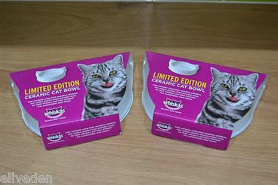 2x (Two) Of Limited Edition Whiskas Ceramic Cat Feeding Bowl / Dish Brand New