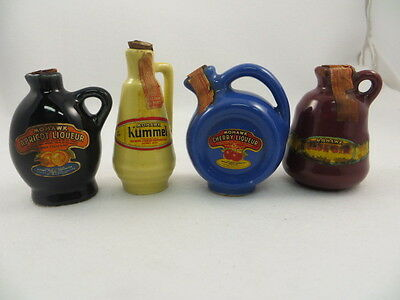 """(Set Two) 4 Different Mohawk Miniature Whiskey Decanter Jugs 3 1/4"""" Tall  Empty"""