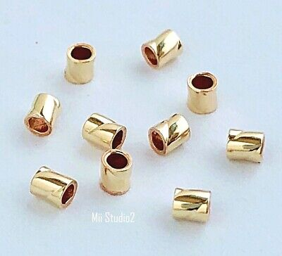 100pcs 14k Yellow Gold Filled Twisted Tube 2.0x2.0mm F53g