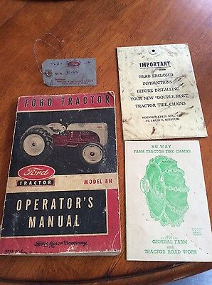 Vintage 1952 Ford Tractor Model 8N Owner Operator's Manual