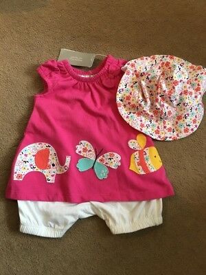 BNWT Baby Girls Summer romper Outfit With Hat Age 0-3