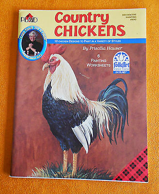 COUNTRY  CHICKENS ~ Plaid Decorative Painting Book 2001 SC Book  #9542 in VGC