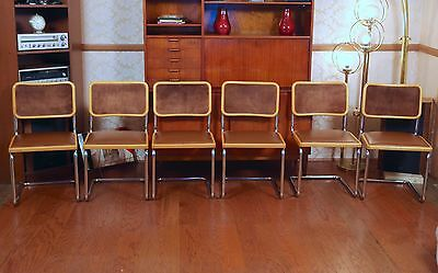 6 Marcel BREUER Style Cantilever CESCA Chairs ITALY