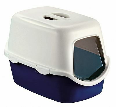 Blue Large Cat Litter Tray Hooded Toilet Box with Lid & Filter Inc Flap Door UK