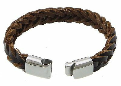 Mens black or brown leather braided wristband bracelet stainless steel clasp