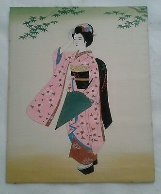 Japanese Geisha Brush Painting on Silk 16 X 13 Inch