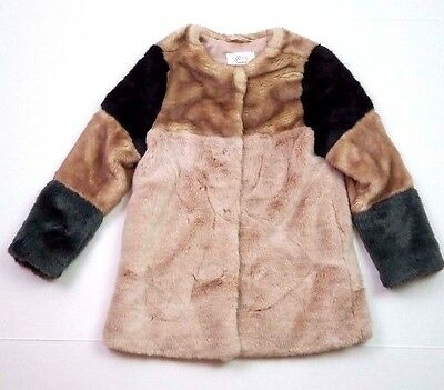 Zara girls faux fur patchwork long sleeve winter coat size 7/8 small medium
