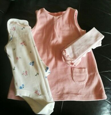 Girls Marks and Spencers Dress and Tights Set 3-6 Months. Immaculate Condition.