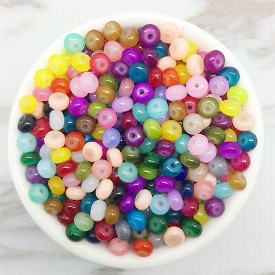 NEW 50PCS 6mm Glass Mix Pearl Spacer Loose Oblate Beads Jewelry Making Craft