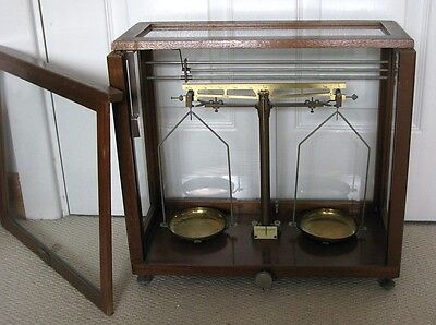 Wooden and Glass Display Case with brass scientific scales. Excellent condition