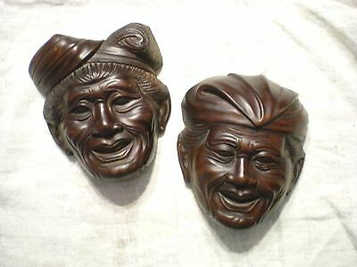 Antique Asian Carved Wood Faces