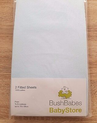 2 x Pram Sheets from Bush Babes Baby Store, Baby Blue, BNWT