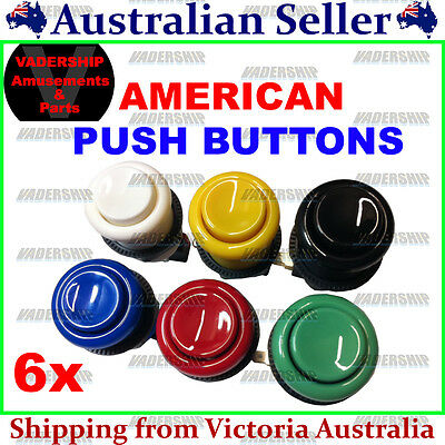 New: 6x American style Push BUTTONS, Lock nut & Micro Switch ARCADE / MAME