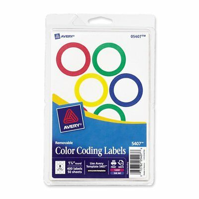 Avery Assorted Removable Color Coding Labels, 1.25 Inch Round, Pack of 400 5407