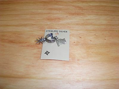 Vintage NOS New Old Stock Western Charm Spur Cowboy Pioneer Sterling Silver