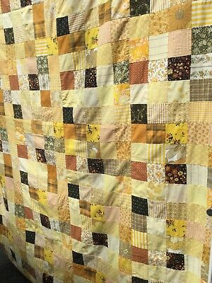 vintage 70s hand stiched homemade patchwork throw/quilt