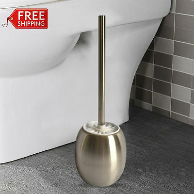 Stainless Steel Bathroom Toilet Brush & Round Holder Free Standing Cleaning Set