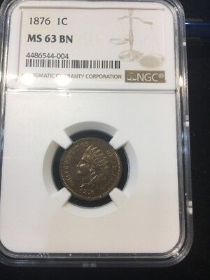 Better Date 1876 Indian Head Cent Ngc Ms 63 Bn