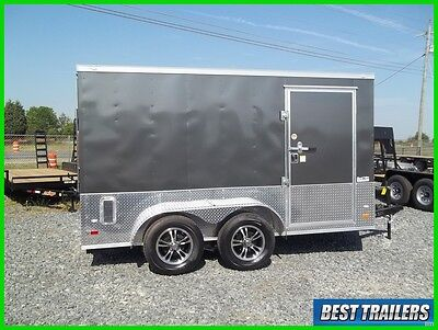 2017 charcoal grey 7 x 12 enclosed double motorcycle trailer cargo 7x12 v nose