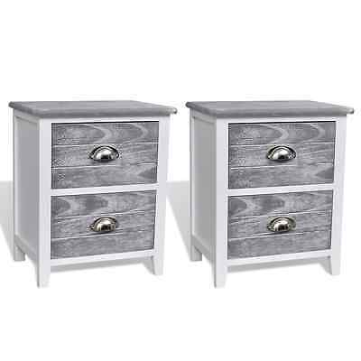 Pair Bedside Tables Shabby Chic Telephone Cabinet Nightstand Storage Drawer Grey