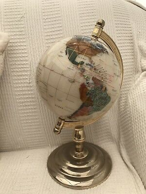 "9"" Semi Precious Gemstone World Globe"
