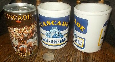 CASCADE BEER CAN(Full) 1983 Hobart / 2 Stubby Holders,CASCADE & ACi Glass,WiLLOW