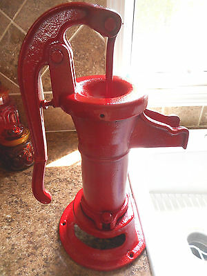 Vintage Cast Iron Red Hand Water Pump