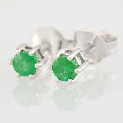 Petite 0.30 Carat Natural Emerald Stud Earrings. Solid 9K 375 9Ct White Gold.