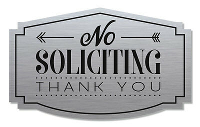 No Soliciting Sign Thank You, Brushed Aluminum/Black