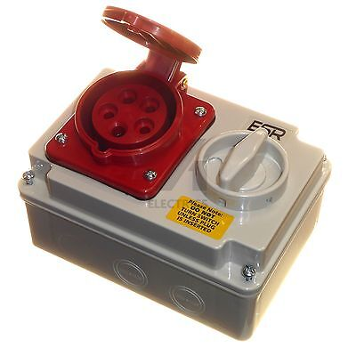 16 amp 5 pin socket interlock with switch 380 - 415V 3P+N+E 3 phase IP44 16A red