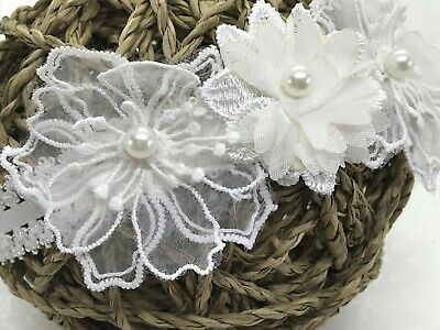 Baby Girls Reborn Ivory Lace Flower Elasticated Headband Made To Order HANDMADE