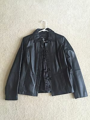 NEW YORK and Co. Women's BLACK 100% LEATHER Jacket - Size XS