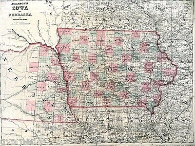 Large Map of Iowa & Nebraska Engraving Double Page Johnson's 1864 Vintage Color