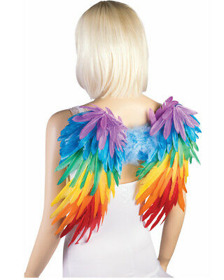 Adult Women's Rainbow Tropical Parrot Feather Wings Costume Accessory