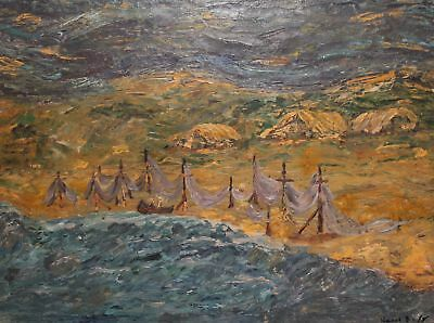 French fauvist landscape seascape oil painting, signed Raoul Dufy