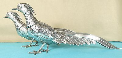 Superb Pair Sterling Silver Statues Pheasants Table Ornaments Chased Birds C1970