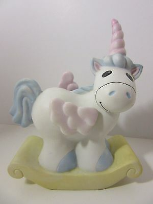 Vintage 80's Ceramic Schmid Rock A Bye Baby Unicorn Musical wind up collectible